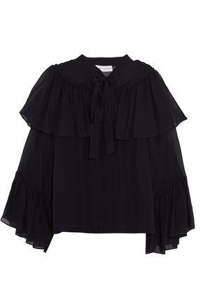 ROBERT RODRIGUEZ Ruffled silk-chiffon blouse
