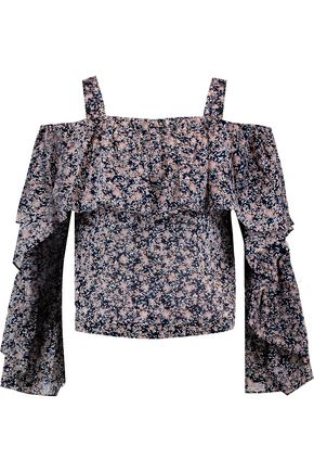 ROBERT RODRIGUEZ Cold-shoulder floral-print cotton top