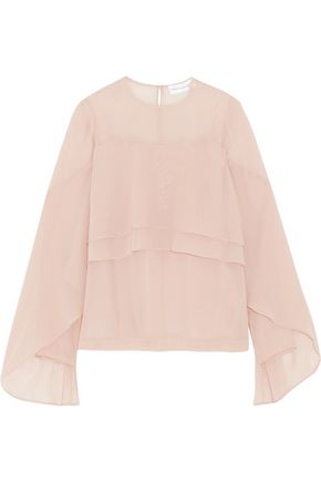 ROBERT RODRIGUEZ Tiered silk-chiffon top