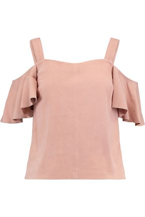 ROBERT RODRIGUEZ Cold-shoulder suede top