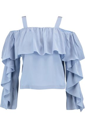 ROBERT RODRIGUEZ Cold-shoulder ruffled silk top