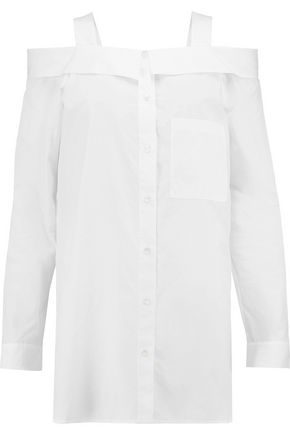 ROBERT RODRIGUEZ Cold-shoulder cotton-poplin shirt