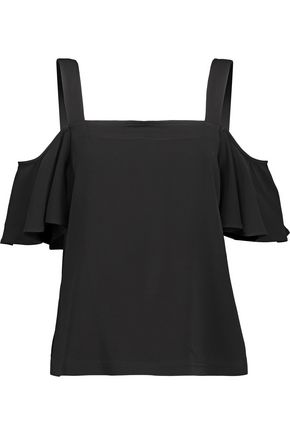 ROBERT RODRIGUEZ Cold-shoulder ruffled stretch-cady top