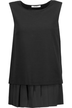 MAX MARA Pleated chiffon-trimmed stretch-jersey top