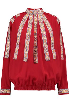 STELLA JEAN Embroidered silk-crepe blouse