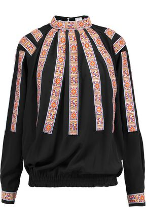 STELLA JEAN Embroidered silk-crepe blouse