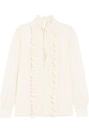 STELLA JEAN Ruffled silk crepe de chine blouse