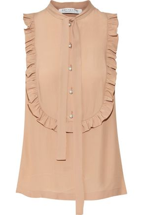 PHILOSOPHY di LORENZO SERAFINI Ruffled crepe de chine top