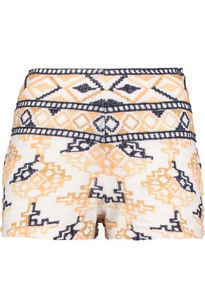 ANTIK BATIK Embroidered cotton-blend shorts