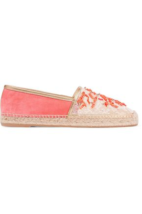 RENE' CAOVILLA Embellished lace and suede espadrilles