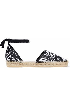MAJE Leather-trimmed jacquard espadrilles