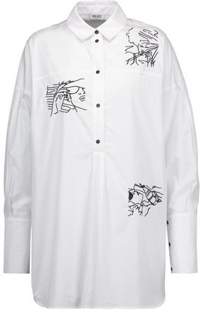 KENZO Embroidered cotton-poplin shirt
