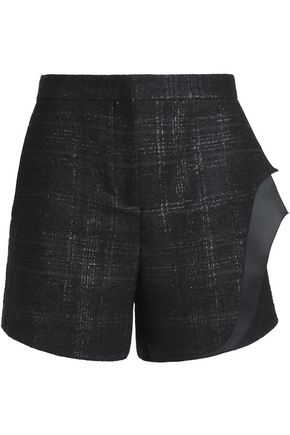 VIONNET Layered glittered wool-blend shorts
