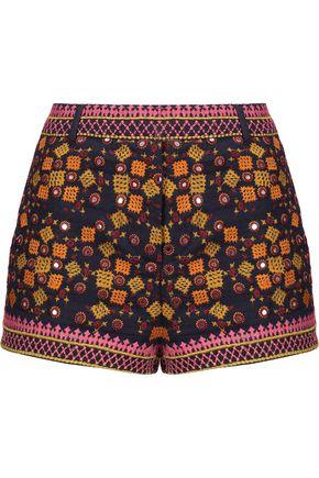 ANTIK BATIK Sharlen sequin-embellished embroidered cotton-gauze shorts