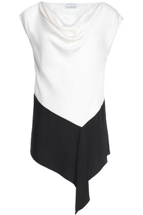 VIONNET Two-tone draped silk-blend top