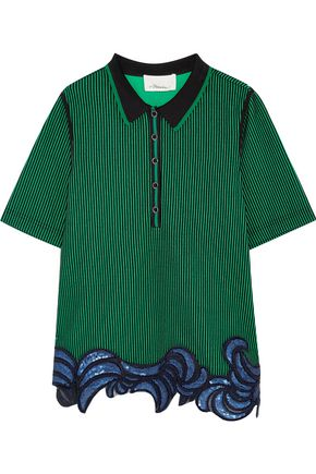 3.1 PHILLIP LIM Appliquéd striped stretch-jersey top