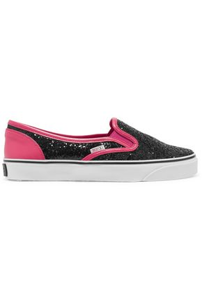 REDValentino Glittered and smooth leather slip-on sneakers