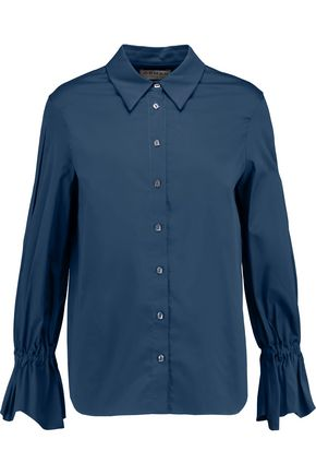 OSMAN Gathered cotton-blend shirt