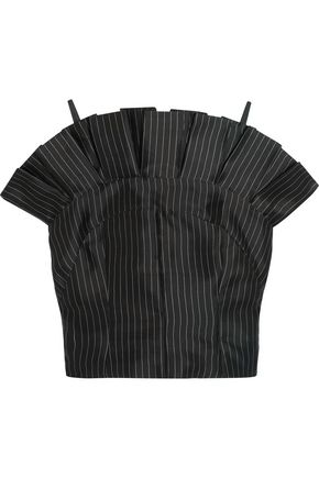 PAPER London Cielo pleated pinstriped silk top
