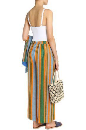 DIANE VON FURSTENBERG Striped linen-blend wide-leg pants