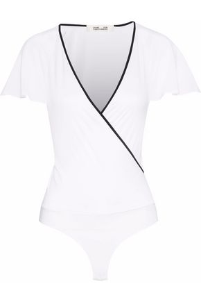 DIANE VON FURSTENBERG Wrap-effect sateen bodysuit