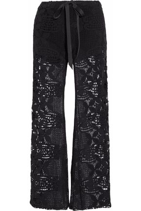 MIGUELINA Cotton guipure lace wide-leg pants