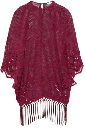 MIGUELINA Fringe-trimmed embroidered open-knit and guipure lace coverup