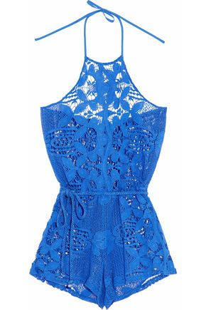 MIGUELINA Cotton guipure lace halterneck playsuit