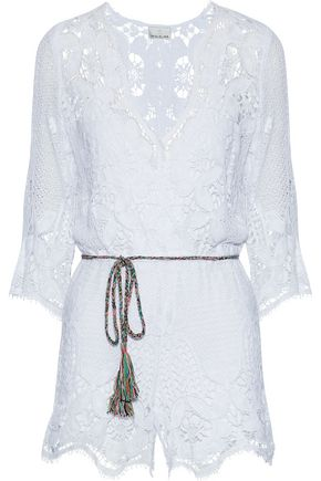 MIGUELINA Cotton macramé lace playsuit
