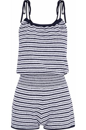 RAG & BONE Striped cotton-terry playsuit