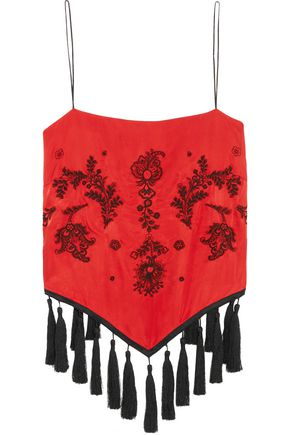 WOMAN MICAH TWIST-BACK TASSELED EMBROIDERED SATIN-PIQUÉ TOP RED