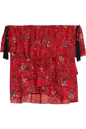 CINQ À SEPT Kahlia off-the-shoulder printed silk-georgette blouse