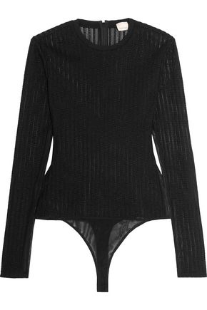 CINQ À SEPT Paige open-knit and tulle bodysuit