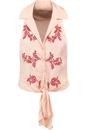 CINQ À SEPT Tie-front embroidered satin top
