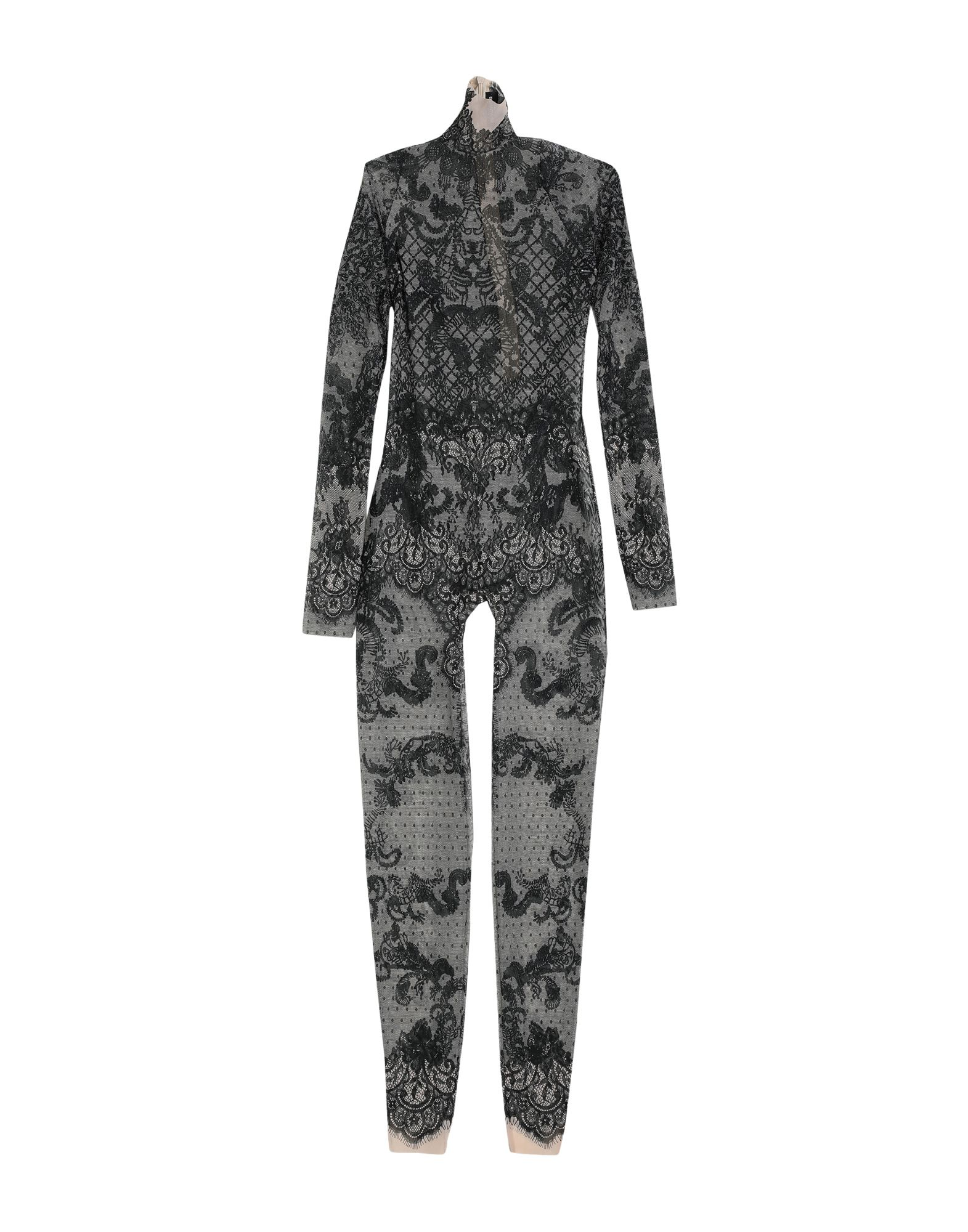 DSQUARED2 Jumpsuits. Tulle Turtleneck No appliqués Two-tone Long sleeves No pockets Zip Rear closure Stretch. 93% Polyamide, 7% Elastane