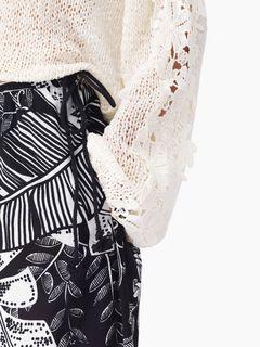 """Pantalon évasé en voile de coton à imprimé """"Jungle"""""""