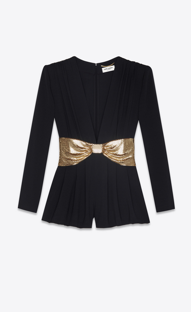 SAINT LAURENT Jumpsuit Woman Playsuit in black sablé with a gold bow a_V4
