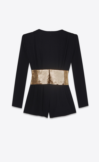 SAINT LAURENT Dresses Woman Playsuit in black sablé with a gold bow b_V4