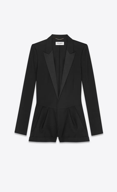 SAINT LAURENT Jumpsuit Woman Tuxedo playsuit in black gabardine a_V4