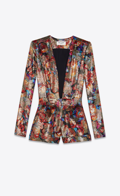 SAINT LAURENT Jumpsuit Woman Playsuit in multicolor floral and gold lamé a_V4
