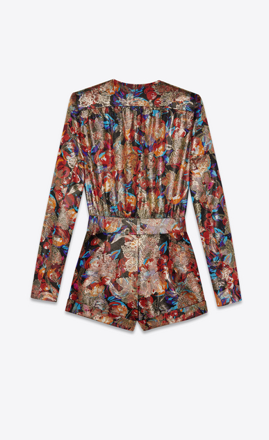 SAINT LAURENT Jumpsuit Woman Playsuit in multicolor floral and gold lamé b_V4