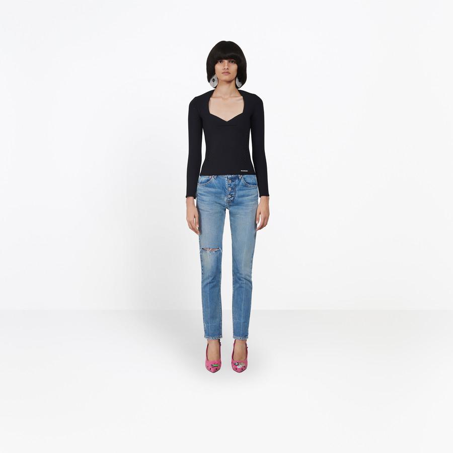 BALENCIAGA Knee Hole Tube Jeans Denim Woman g