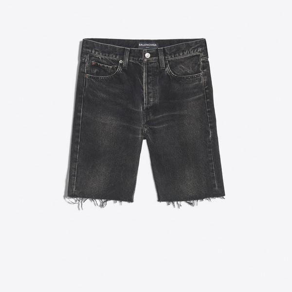 Short en jean à bords bruts