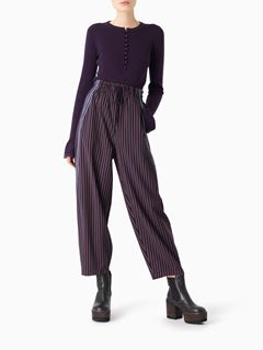 Pantalon large en tissu tailoring à rayures
