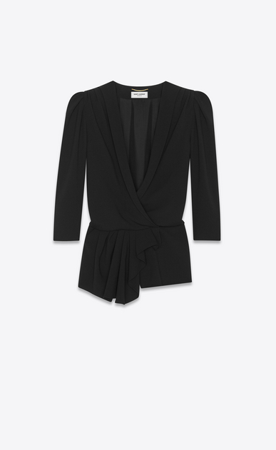 shawl collar draped jumpsuit in sablé saint laurent