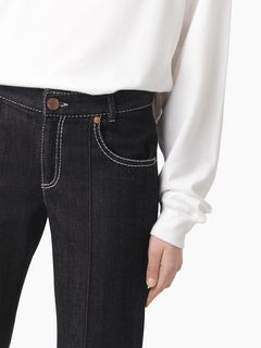 Pantalon court en denim signature noir
