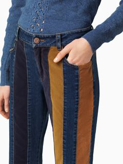 Pantalon court en denim rayé