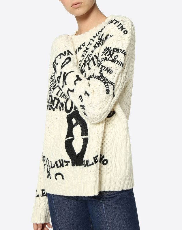 Valentino Tree Embroidered Wool Jumper