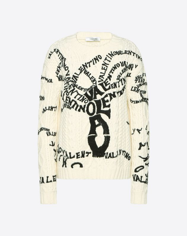 Valentino Tree Embroidered Wool Sweater