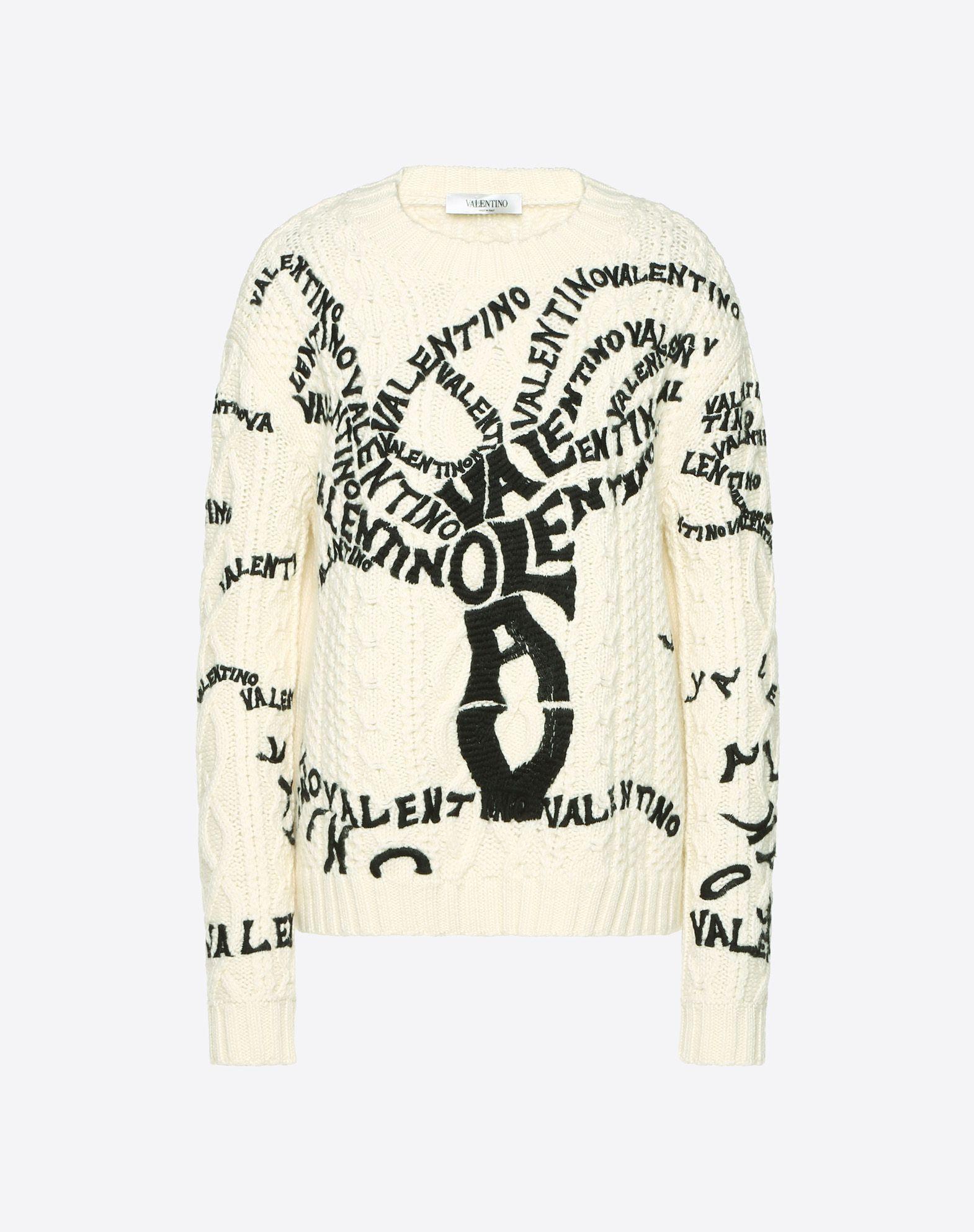 Valentino Tree Embroidered Wool Jumper